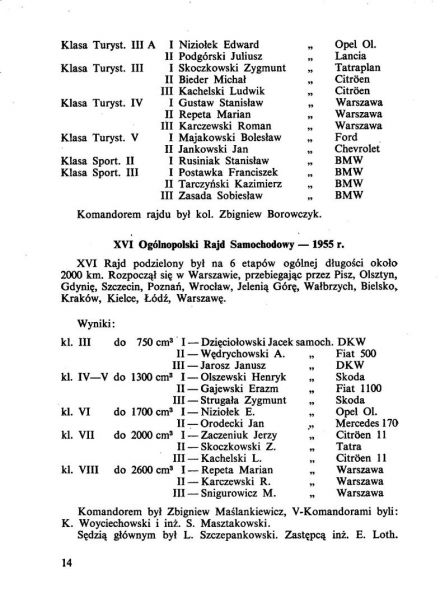 20 Rajd Polski  4 eliminacja  8-12 09 1960r