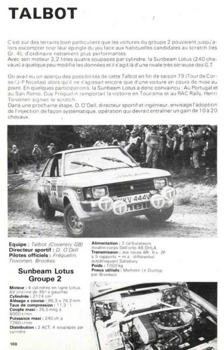 Talbot Sunbeam Lotus – Groupe 2